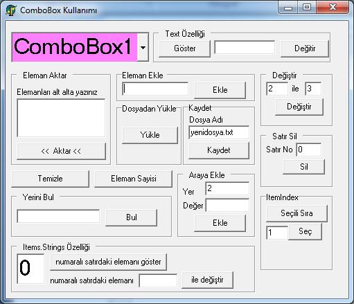 ComboBox Uygulaması